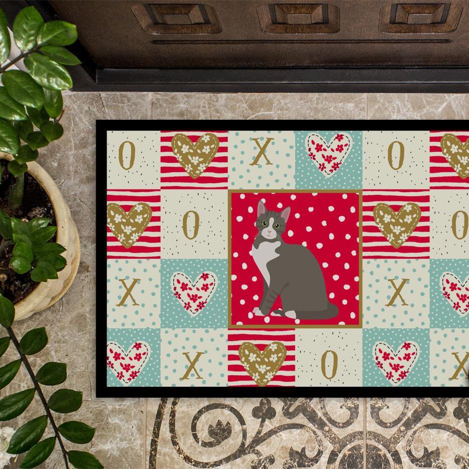 Caroline's Treasures CK5743MAT Brazilian Shorthair Cat Love Indoor or Outdoor Mat 18x27, 18H X 27W, multicolor