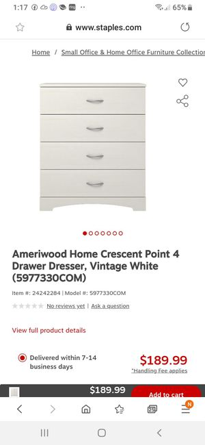 Photo New in box 4 drawer dresser white