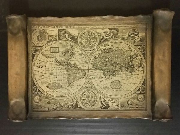 A New And Accvrat Map Of The World 1626.A New And Accvrat Map Of The World 1626 Copy Wooden Scroll Wall
