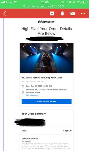 Kevin Gates Concert Tickets (2) Baltimore for Sale in Baltimore, MD