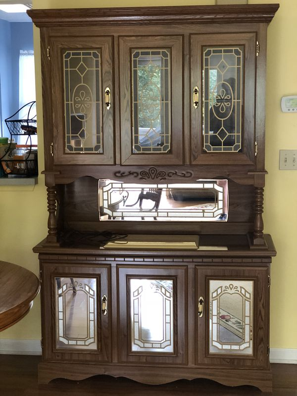 Oak Dining Room Buffet With Lighted Hutch