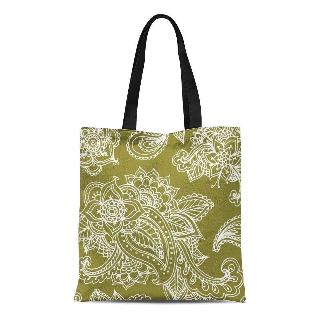Canvas Tote Bag Boho Green Bohemian Paisley Henna Mehndi Floral Elegant Reusable Handbag Shoulder Grocery Shopping Bags
