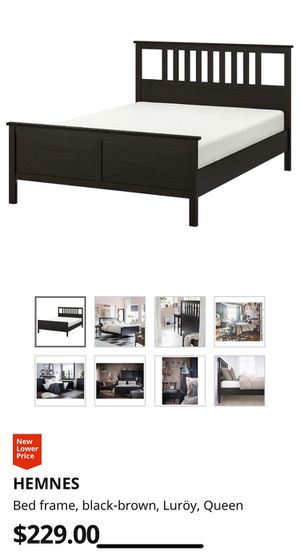 Photo Queen Size IKEA Hemnes Bed Frame with Luröy slatted bed base