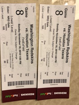 Redskins VS Houston Tickets for Sale in Germantown, MD