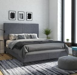 Upholstered queen bed frame - Delivery available Thumbnail