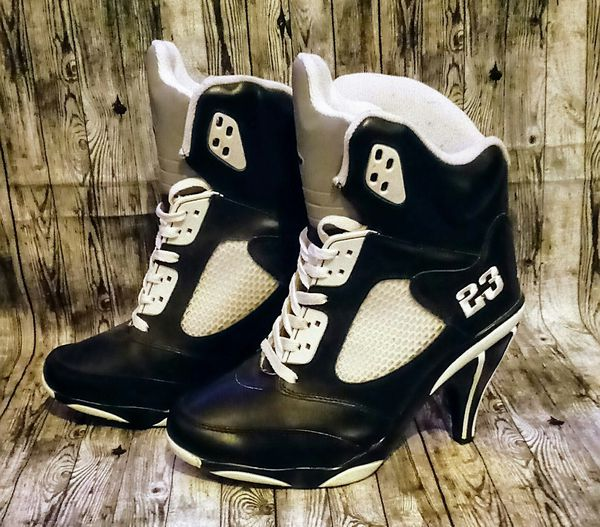 27b144a8fbae Air Jordan High Top Stiletto Heel Ankle Boot Sneakers Womens US Size 8.5  Black   White 136027 001 2007