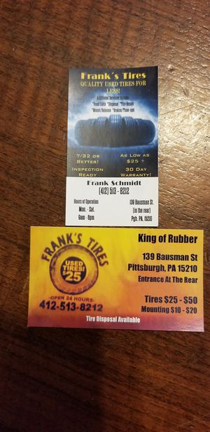 The king of rubber has all your tire needs for Sale in Pittsburgh, PA