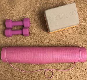 5lb. dumbbell set, yoga mat, yoga block for Sale in Manchester, NH