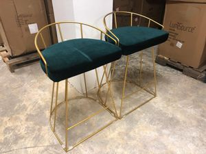 Set of 2 gold/green velvet canary counter bar stools for Sale in Rockville, MD
