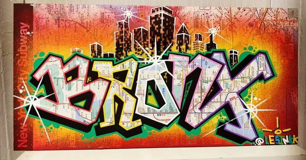 Bronx Graffiti Piece On Original M T A Subway Map For Sale