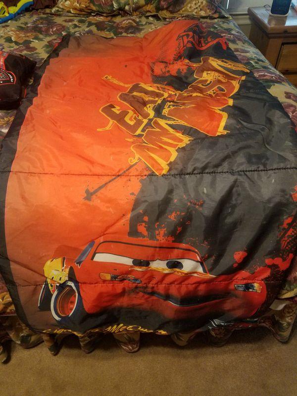 Lightning Mcqueen Sleeping Bag And 2 Plush Pillows For