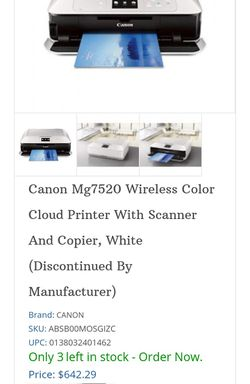 Canon Pixma MG7520 Wireless All In One Printer With Tons Of Ink Thumbnail