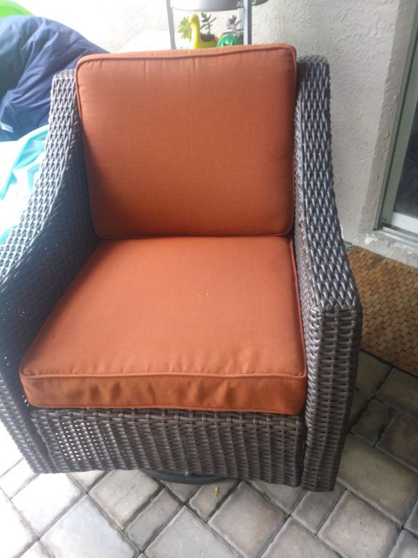 Patio Furniture Double Set Couch One Chair And Swivel Ratten Palm Decor On Sides Of For In Orlando Fl Offerup