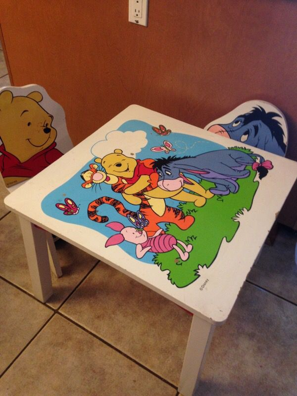 Cool Winnie The Pooh Kids Table And Chairs For Sale In Glendale Andrewgaddart Wooden Chair Designs For Living Room Andrewgaddartcom