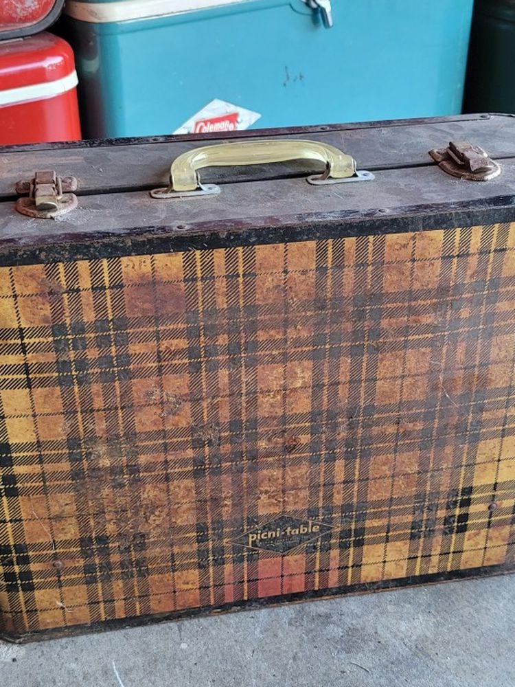 vintage antique folding suitcase luggage plaid picnic picni-table