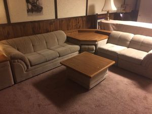 7 piece brown cloth sectional with win pull-out bed for Sale in Fairfax, VA