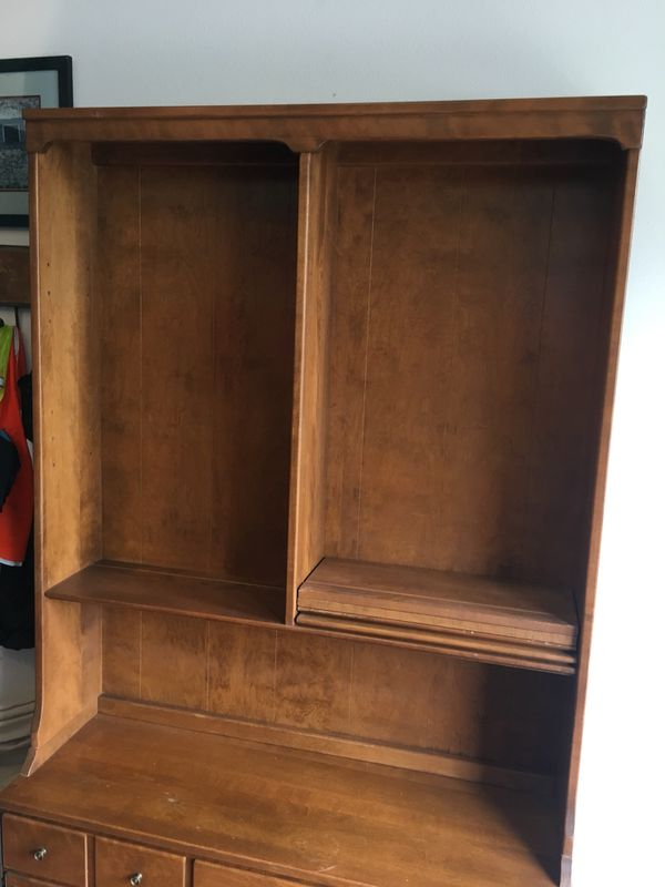 Vintage Ethan Allen 1960s Hutch Solid Maple Hutch For
