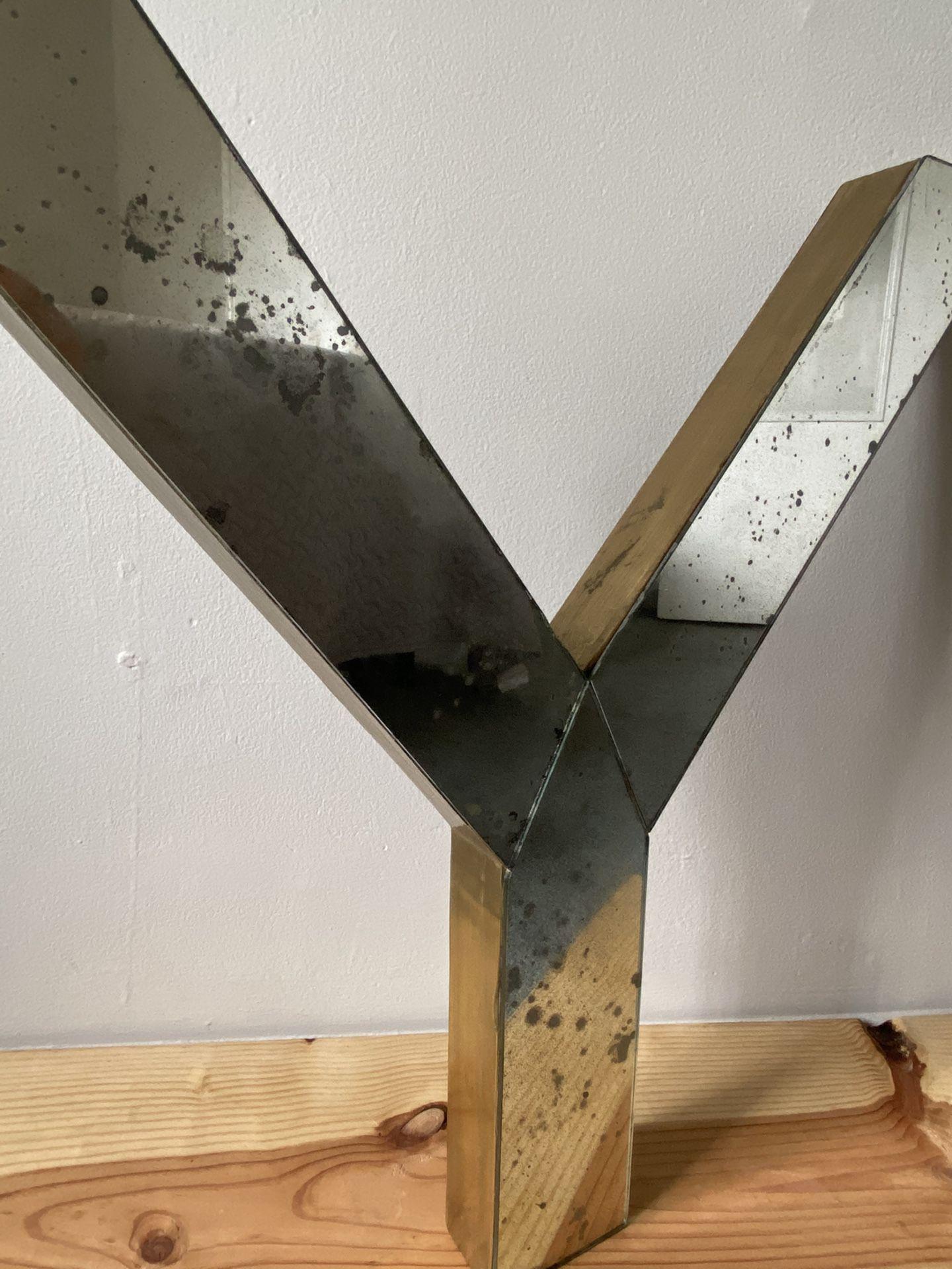 "Restoration Hardware ""Brass & Mercury Glass Y"""