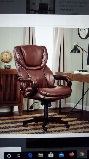 Photo Serta Big and Tall executive office chair with wood accents adjustable high back ergonomic lumbr support, bonded leather, chestunt brown