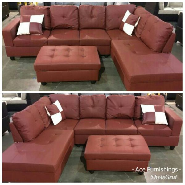 New Red Leather Sectional Storage Ottoman Free Delivery