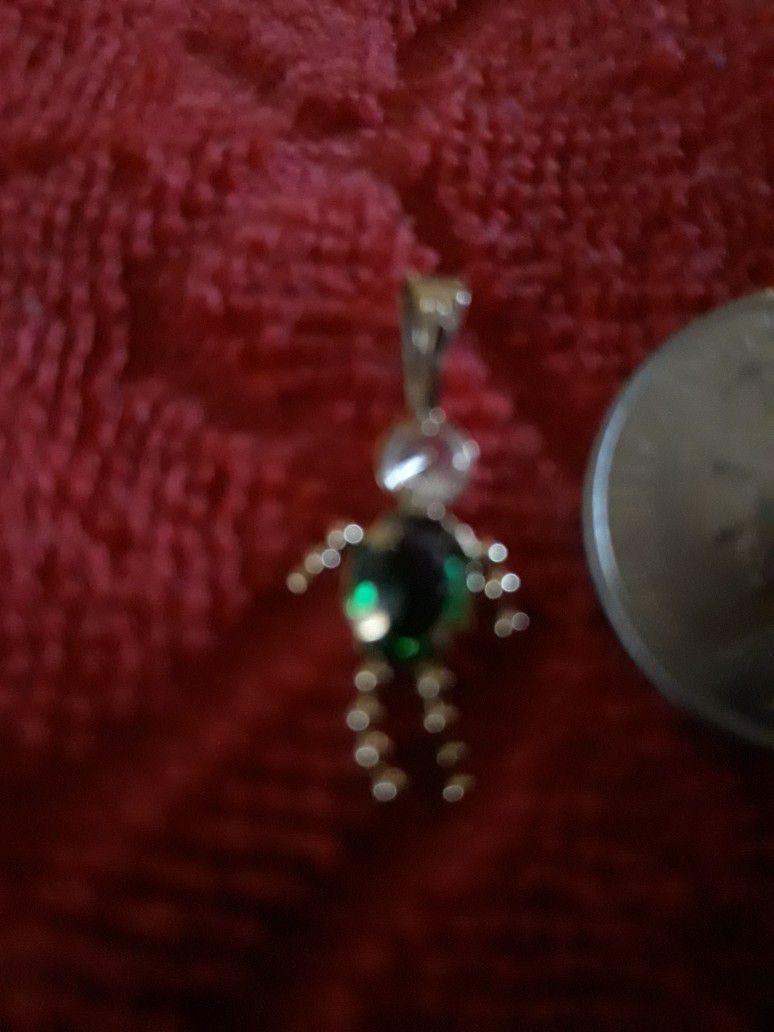14K Gold Green Birthstone For May Boy Pendant