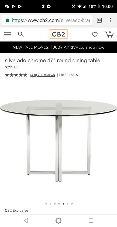 CB Silverado Chrome Round Dining Table For Sale In Santa Clara - Silverado rectangular coffee table