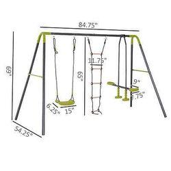 A-Frame Kids Metal Swing Set Swing Chair & Glide Set Climbing Ladder Outdoor Fun Thumbnail