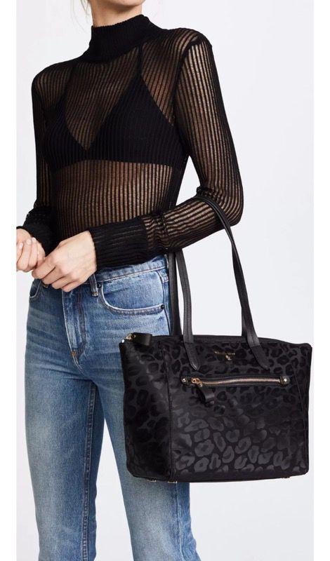NWT Michael Kors NYLON Kelsey Top Zip Tote Medium BLACK bag purse ... 1cfc52476160a