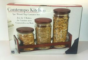 Comtempo Kitchen 3pc. Wood Top Canister Set for Sale in Midlothian, VA