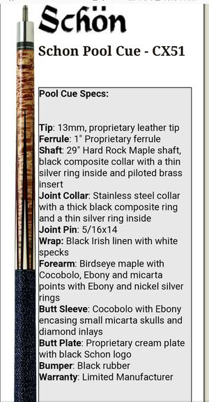 Schon CX-51 pool cue with Predator Z3 shaft for Sale in Humble, TX