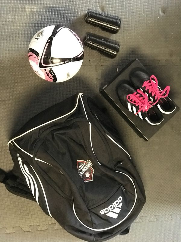 9fa8c5c306d Like new Size 11K Adidas Soccer Shoes, Adidas Soccer Backpack (Broomfield  Soccer Club), Franklin Soccer Ball and Kids Shin Guards