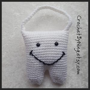 Custom order Tooth Fairy Pillow, Crochet stuffed tooth amigurumi, Handmade Gift, Any color, Boys or Girls, Made to Order for Sale in Charles Town, WV