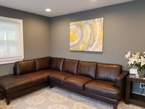 Macys Brown Leather Sectional Couch for Sale in Vienna, VA