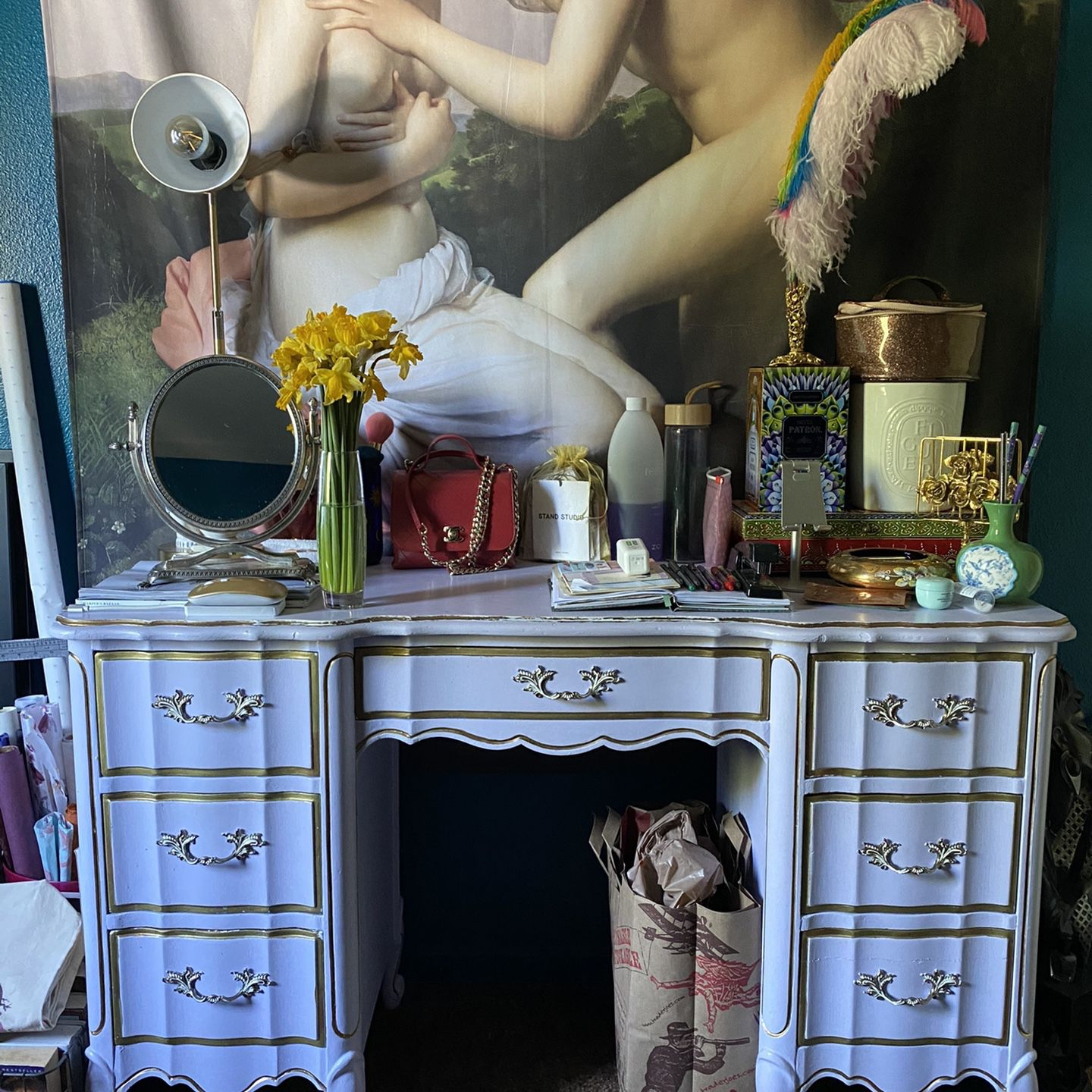 French Rustic Cottage Chic Lavender Gold Handpainted Desk