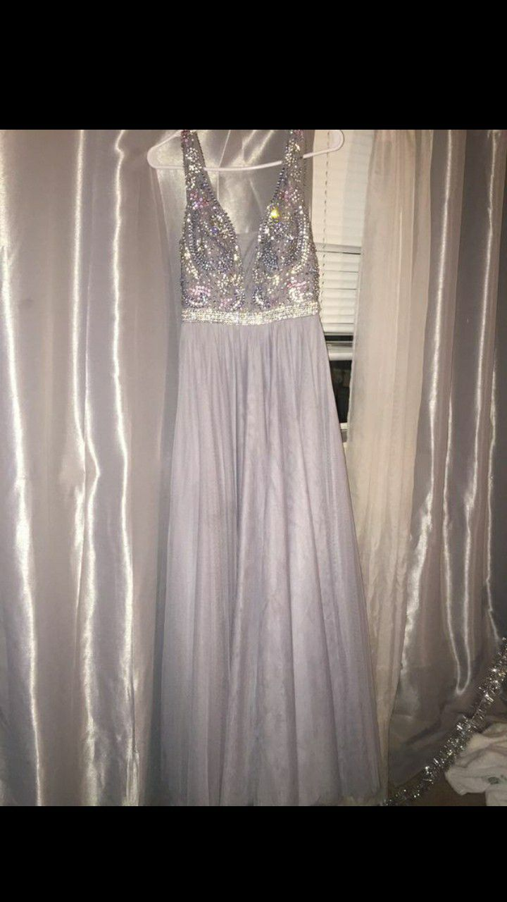 Grey Sparkly Prom Dress