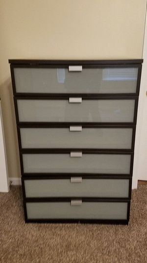 Hopen 6 Drawer Chest Dresser Black Brown Frosted Gl Located In Mira