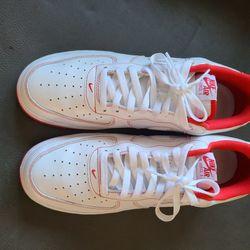 Nike Air Force 1 '07 Low White/ University Red Men's Size 13 Thumbnail