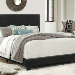 [SPECIAL] Erin Black Faux Leather Full Bed   5271   Thumbnail