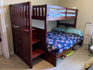 Photo Bunk bed wood cherry with mattresses