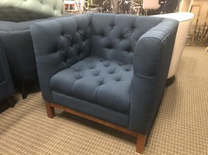 Blue panache mid century modern fabric tufted chair for Sale in Annandale, VA