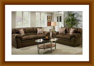 Chocolate fabric sofa and love seat free delivery for Sale in Rockville, MD