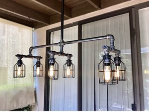 Extra Long Industrial Metal Iron Pipe 6 Light Chandelier/6 Edison Bulbs Included /Steampunk Style Ceiling Light Fixture. for Sale in Phoenix, AZ