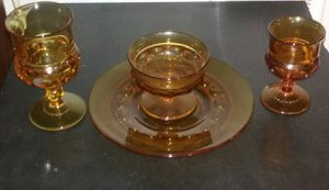 34 pieces of vintage Indiana glass Amber Kings Crown thumbprint for Sale in Mountlake Terrace, WA