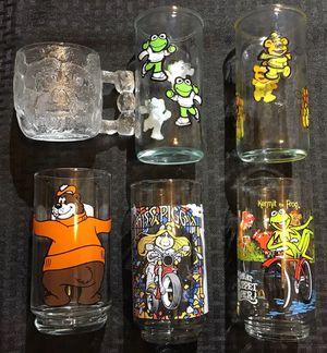 Set of Six Vintage 1980's Collectible Glasses - Muppets, Flintstones, A&W etc. for Sale in Hamilton Township, NJ