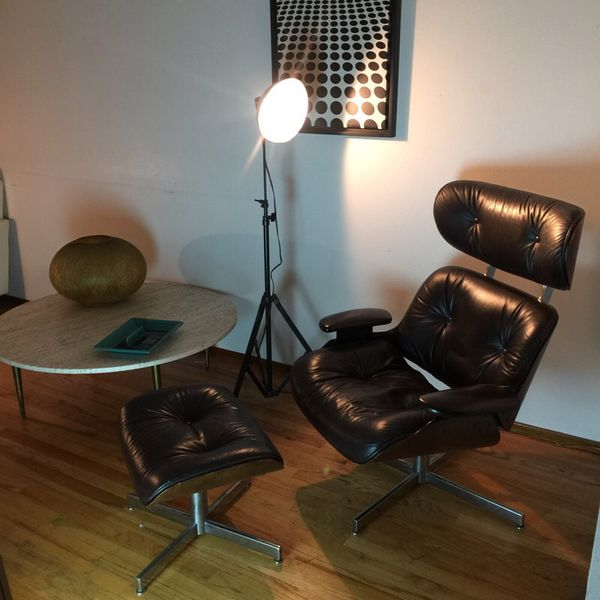 Sensational Selig Eames Style Lounge Chair And Ottoman Fantastic Black Beatyapartments Chair Design Images Beatyapartmentscom