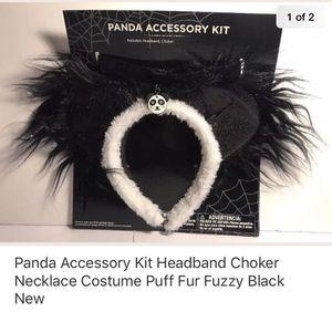 Panda Accessory Kit Headband Choker Necklace Costume Puff Fur Fuzzy Black for Sale in Union City, CA