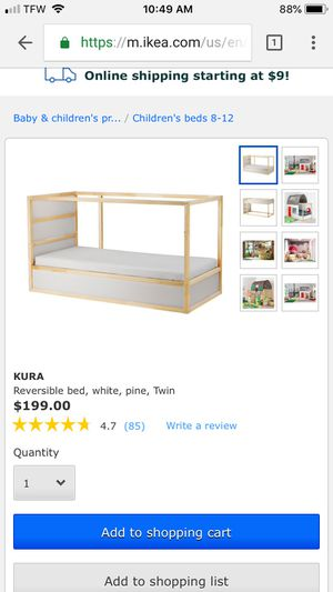 Ikea Kura Reversible Bed $60, Mattress $30 for Sale in Roswell, GA - OfferUp