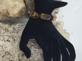 """925 STER Silver Tiger's Eye Chunky Beaded Bracelet 7.5"""" Thumbnail"""
