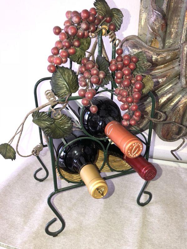 Large Wire Wine Bottle Holder For Home Decor Holds 3 Standard
