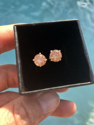 Sterling Silver 925 Champagne CZ earrings, Engagement/ Wedding/Birthday for Sale in Miami, FL